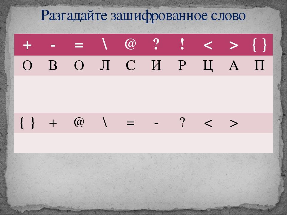 Разгадайте зашифрованное слово + - = \ @ ? ! < > { } О В О Л С И Р Ц А П { }...