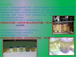 Опыт №3. К 30-50 г. желтой кровяной соли – гексоцианоферрата (II) калия в 1 л