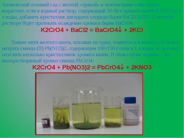 Химический осенний сад с желтой «травой» и золотистыми «листьями» вырастает,...