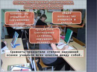 1) 2) Сравнить показатели степени нарушений осанки учащихся всех классов межд