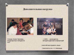 Дополнительная нагрузка Ученики Лилии Павловны – с 1998 г. – руководитель нео