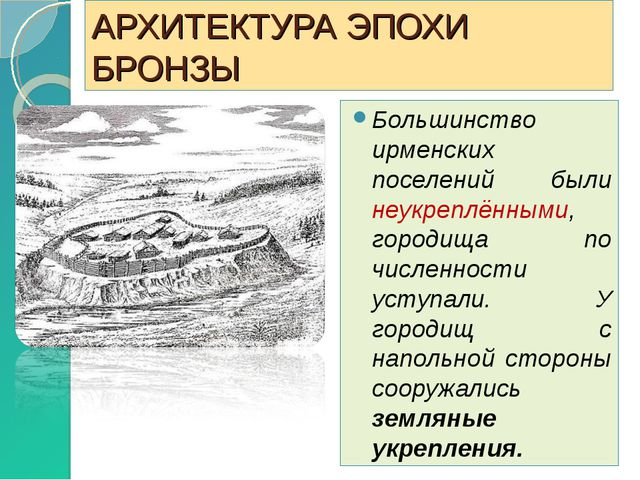 АРХИТЕКТУРА ЭПОХИ БРОНЗЫ Большинство ирменских поселений были неукреплёнными,...