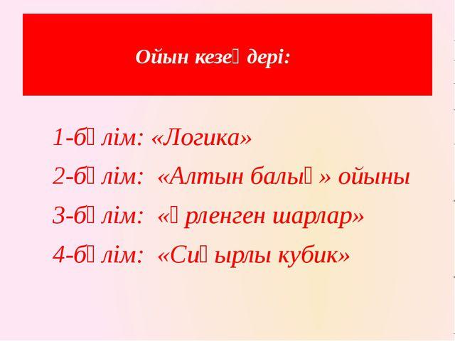 Ойын кезеңдері: 1-бөлім: «Логика» 2-бөлім: «Алтын балық» ойыны 3-бөлім...
