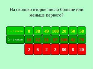 1 – е число 8 38 100 49 50 20 58 2 – е число 10 32 97 51 42 100 78 На сколько