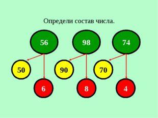 Определи состав числа. 56 98 74 50 90 70 6 8 4 Лазарева Лидия Андреевна, учит