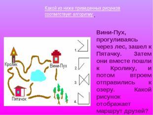 Какой из ниже приведенных рисунков соответствует алгоритму: Вини-Пух, прогули