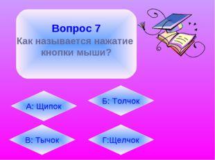 Вопрос 7 Как называется нажатие кнопки мыши? А: Щипок В: Тычок Б: Толчок Г:Щ
