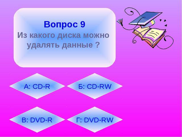 Вопрос 9 Из какого диска можно удалять данные ?  В: DVD-R А: CD-R Г: DVD-RW...