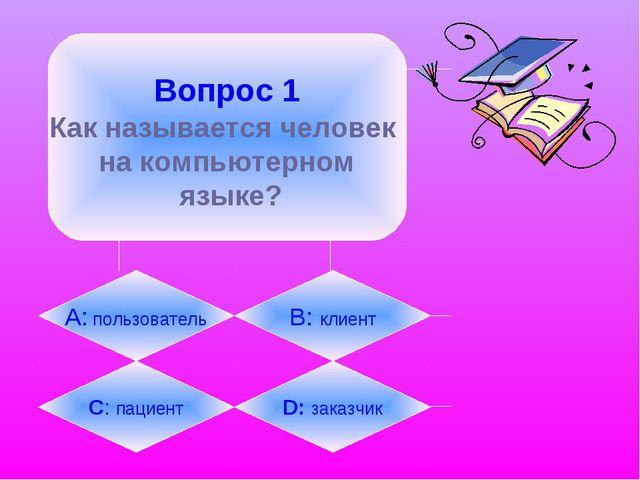 Вопрос 1 Как называется человек на компьютерном языке? А: пользователь B: кл...