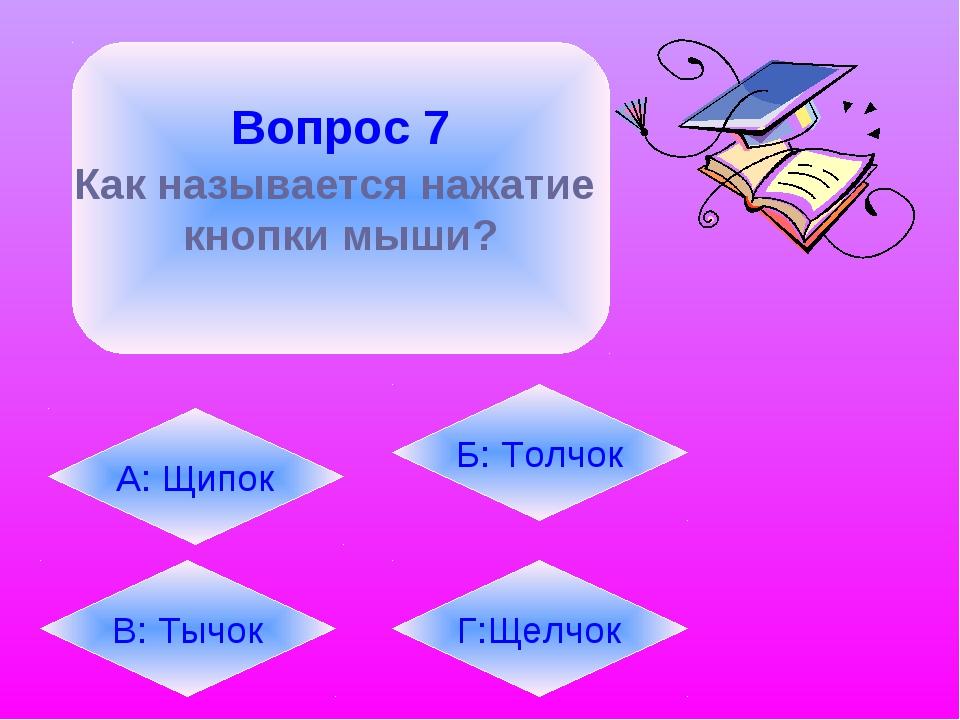 Вопрос 7 Как называется нажатие кнопки мыши? А: Щипок В: Тычок Б: Толчок Г:Щ...
