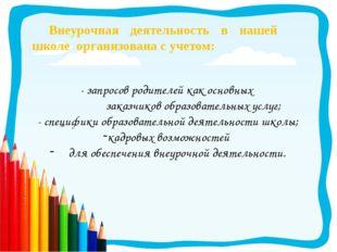 - запросов родителей как основных заказчиков образовательных услуг; - специфи