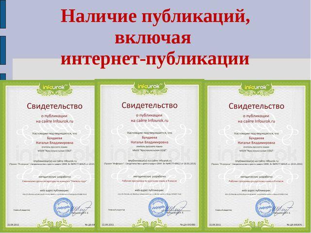 Наличие публикаций, включая интернет-публикации