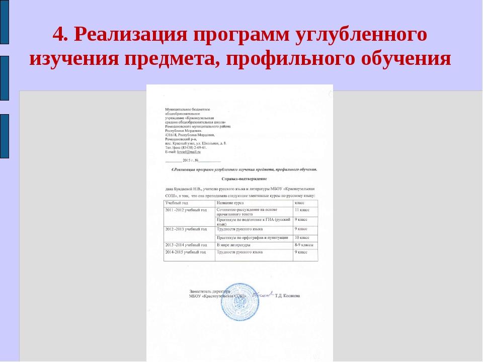 4. Реализация программ углубленного изучения предмета, профильного обучения