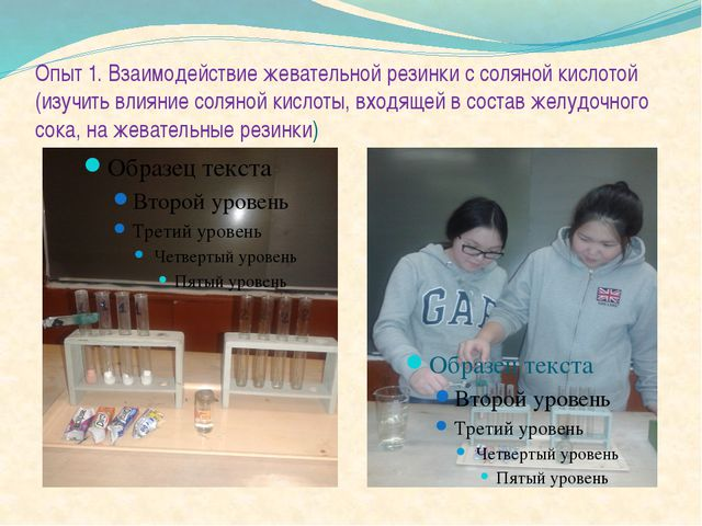 Опыт 1. Взаимодействие жевательной резинки с соляной кислотой (изучить влияни...