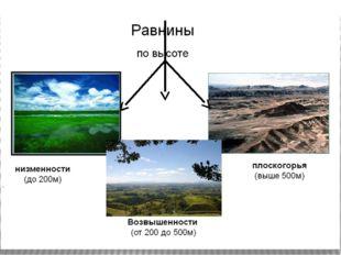 Повторение классификации равнин по высоте, заполнение опорного конспекта.