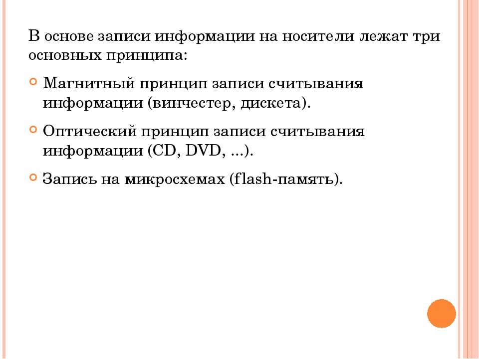 В основе записи информации на носители лежат три основных принципа: Магнитный...