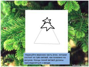 Нарисуйте верхнюю часть ёлки, которая состоит из трёх ветвей, как показано н