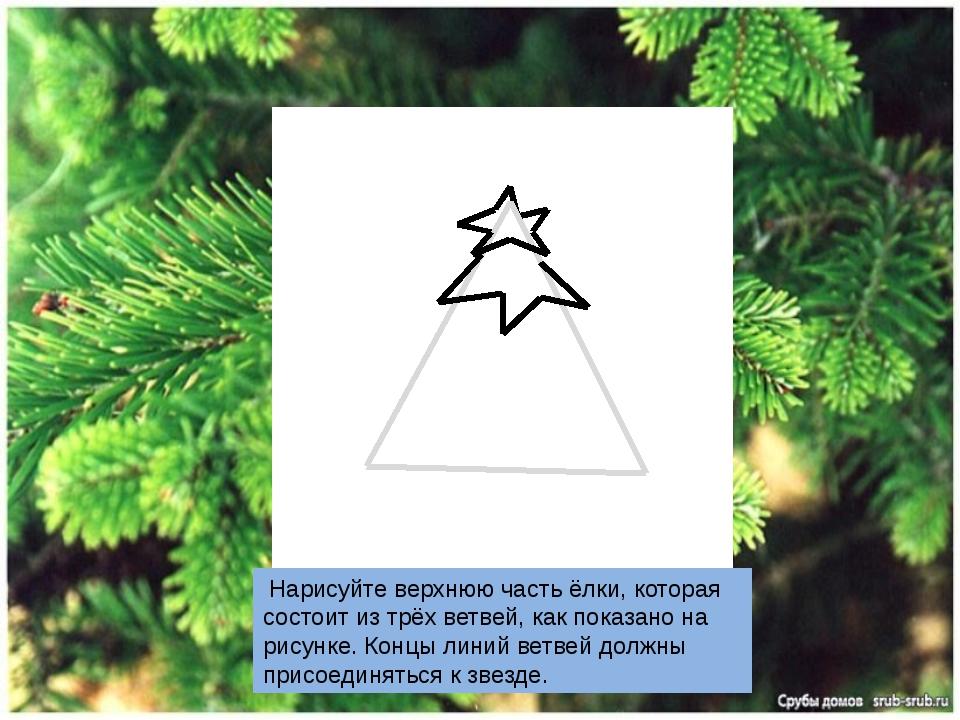 Нарисуйте верхнюю часть ёлки, которая состоит из трёх ветвей, как показано н...