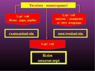 Тестілеу мониторингі 1-деңгей Жеке, дара, дербес 2-деңгей мектеп әкімшілігі ж