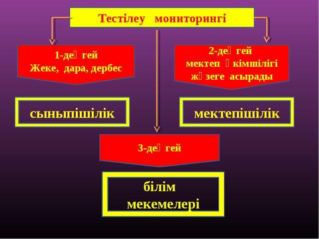 Тестілеу мониторингі 1-деңгей Жеке, дара, дербес 2-деңгей мектеп әкімшілігі ж...
