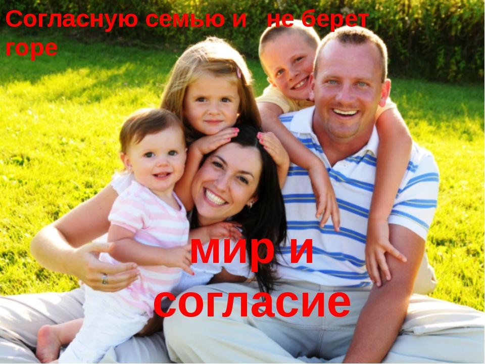 Согласную семью и горе не берет мир и согласие