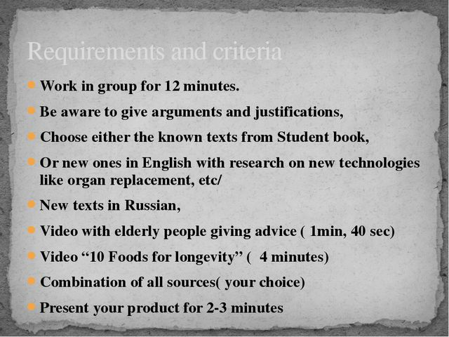 Work in group for 12 minutes. Be aware to give arguments and justifications,...