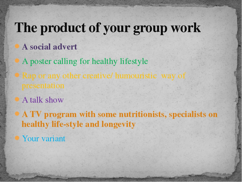 A social advert A poster calling for healthy lifestyle Rap or any other creat...