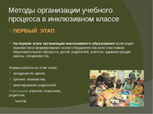Методы организации учебного процесса в инклюзивном классе ПЕРВЫЙ ЭТАП На перв