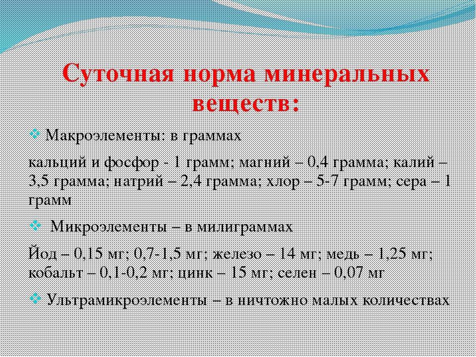 Суточная норма минеральных веществ: Суточная норма минеральных веществ:  Ма...