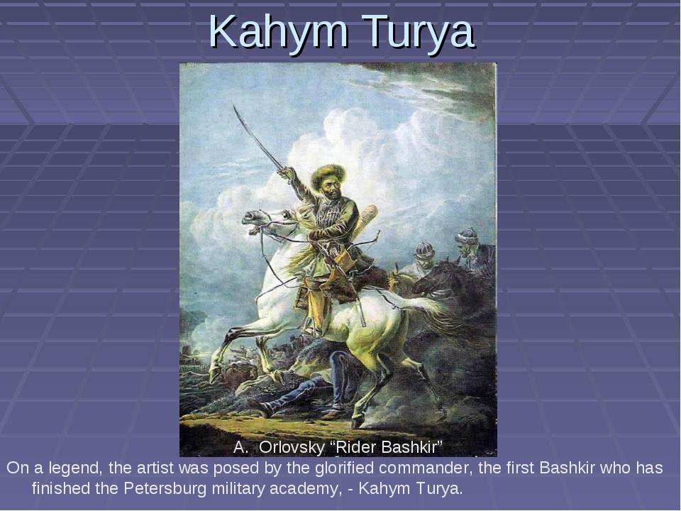 "Kahym Turya Orlovsky ""Rider Bashkir"" On a legend, the artist was posed by the..."