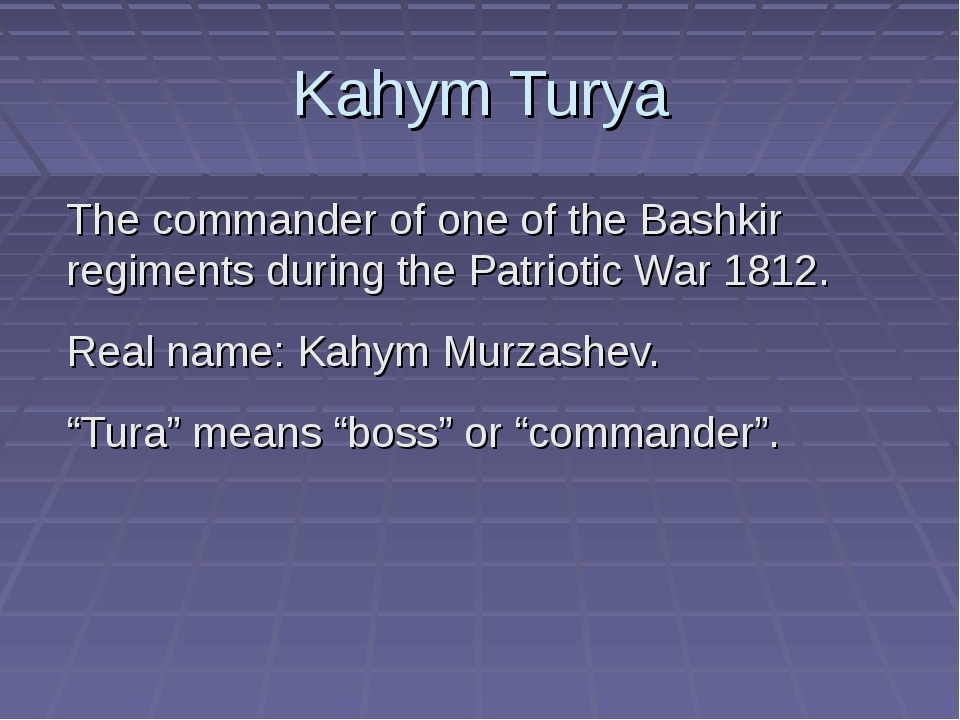 Kahym Turya The commander of one of the Bashkir regiments during the Patrioti...