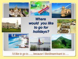 Where would you like to go for holidays? I'd like to go to….., because I like