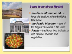Some facts about Madrid the Plaza Monumental - a large city stadium, where bu