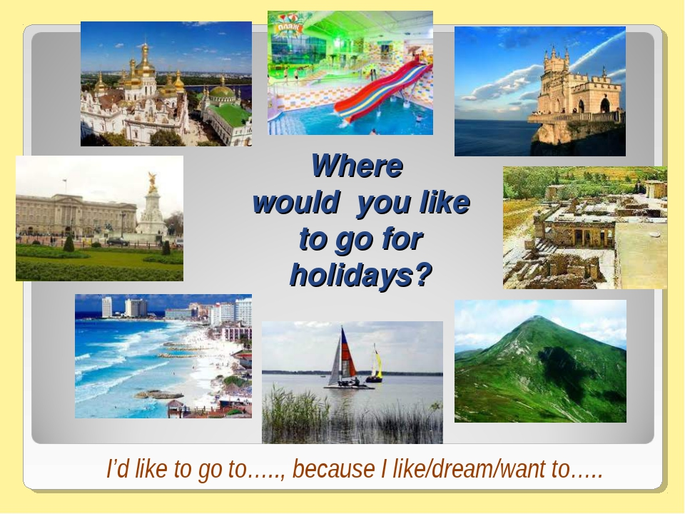 Where would you like to go for holidays? I'd like to go to….., because I like...