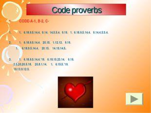 Code proverbs CODE-A-1, B-2, C- 1. 6.18.9.5.14.4. 9.14. 14.5.5.4. 9.19. 1. 6.