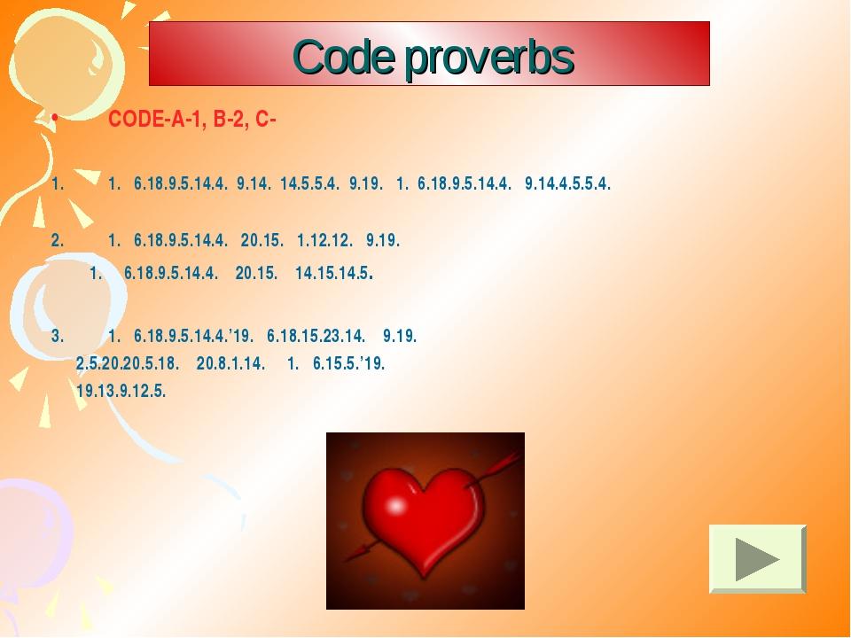 Code proverbs CODE-A-1, B-2, C- 1. 6.18.9.5.14.4. 9.14. 14.5.5.4. 9.19. 1. 6....