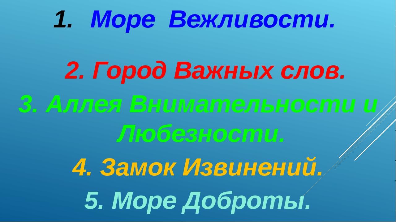 Море Вежливости.  2. Город Важных слов. 3. Аллея Внимательности и Любезнос...