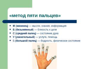 «метод пяти пальцев» М (мизинец) — мысли, знания, информация Б (безымянный) —