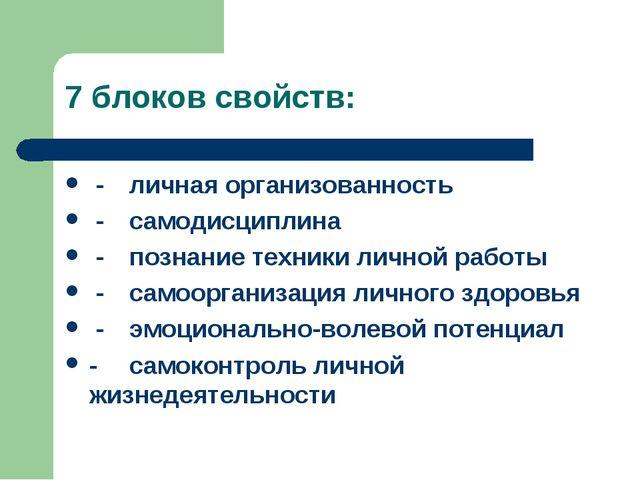 7 блоков свойств: -личная организованность -самодисциплина -познание техни...
