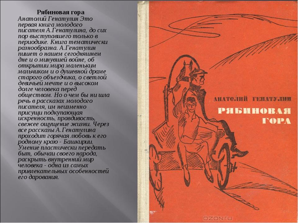 Рябиновая гора Анатолий Генатулин Это первая книга молодого писателя А.Генату...