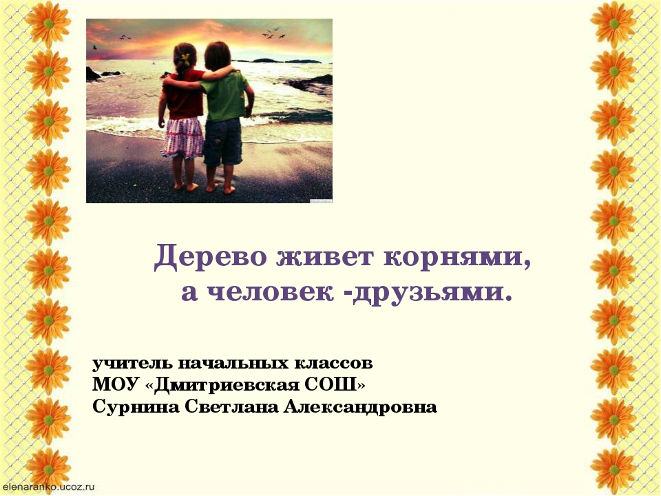 Дерево живет корнями, а человек -друзьями. учитель начальных классов МОУ «Дми...