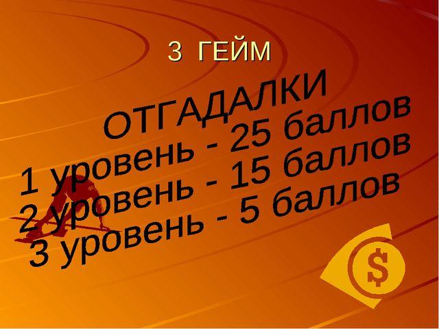3 ГЕЙМ
