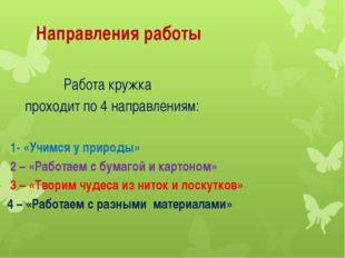 Направления работы Работа кружка проходит по 4 направлениям: 1- «Учимся у пр