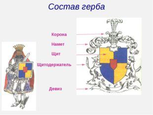 Состав герба Корона Намет Щит Щитодержатель Девиз