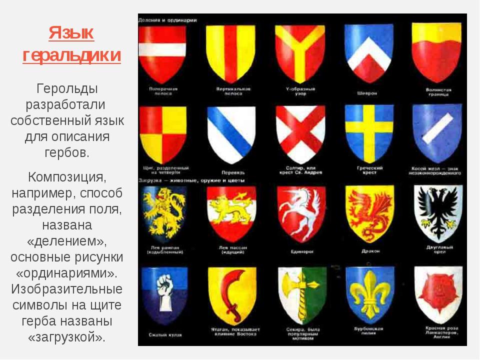 Язык геральдики Герольды разработали собственный язык для описания гербов. Ко...