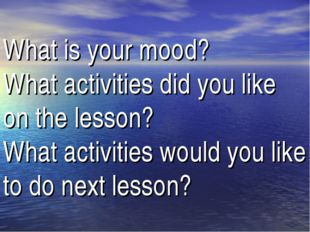 What is your mood? What activities did you like on the lesson? What activitie