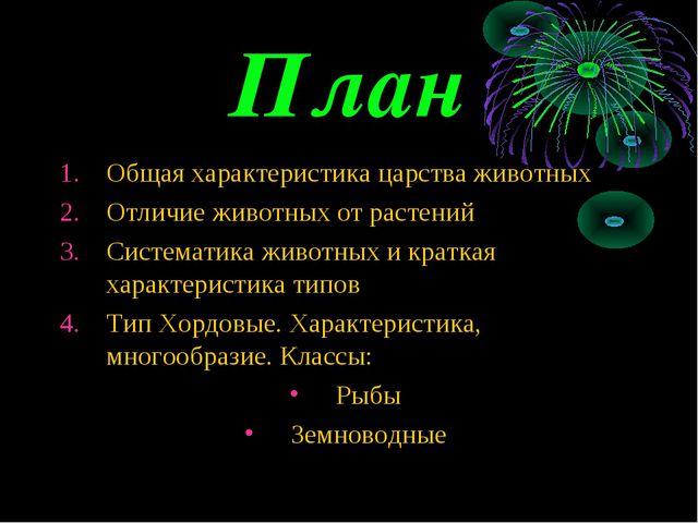 План Общая характеристика царства животных Отличие животных от растений Систе...
