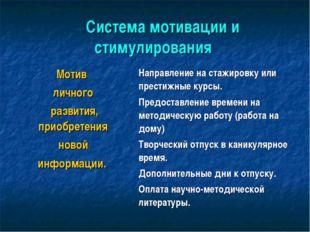 Система мотивации и стимулирования Мотив личного развития, приобретения н