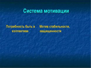 Система мотивации Потребность быть в коллективе  Мотив стабильности, защ