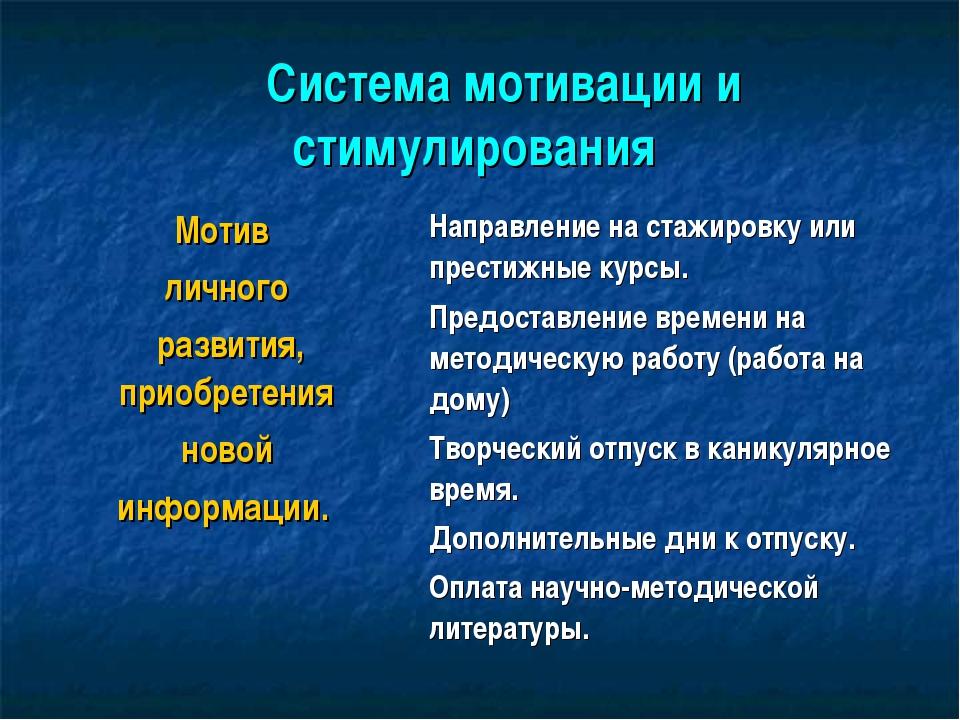 Система мотивации и стимулирования Мотив личного развития, приобретения н...